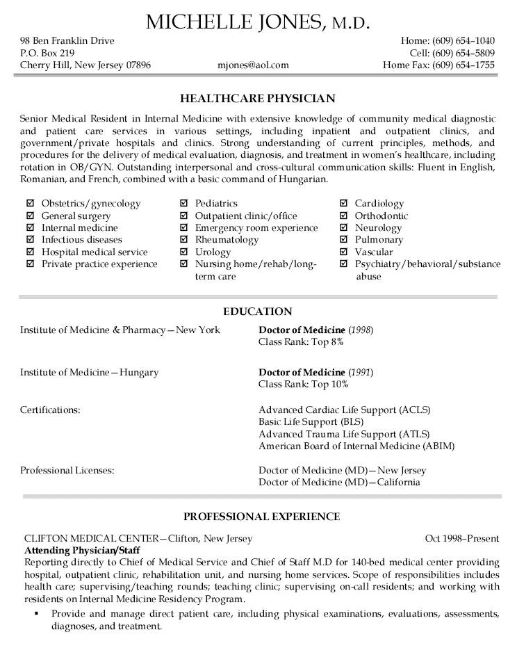 Physician Curriculum Vitae Template
