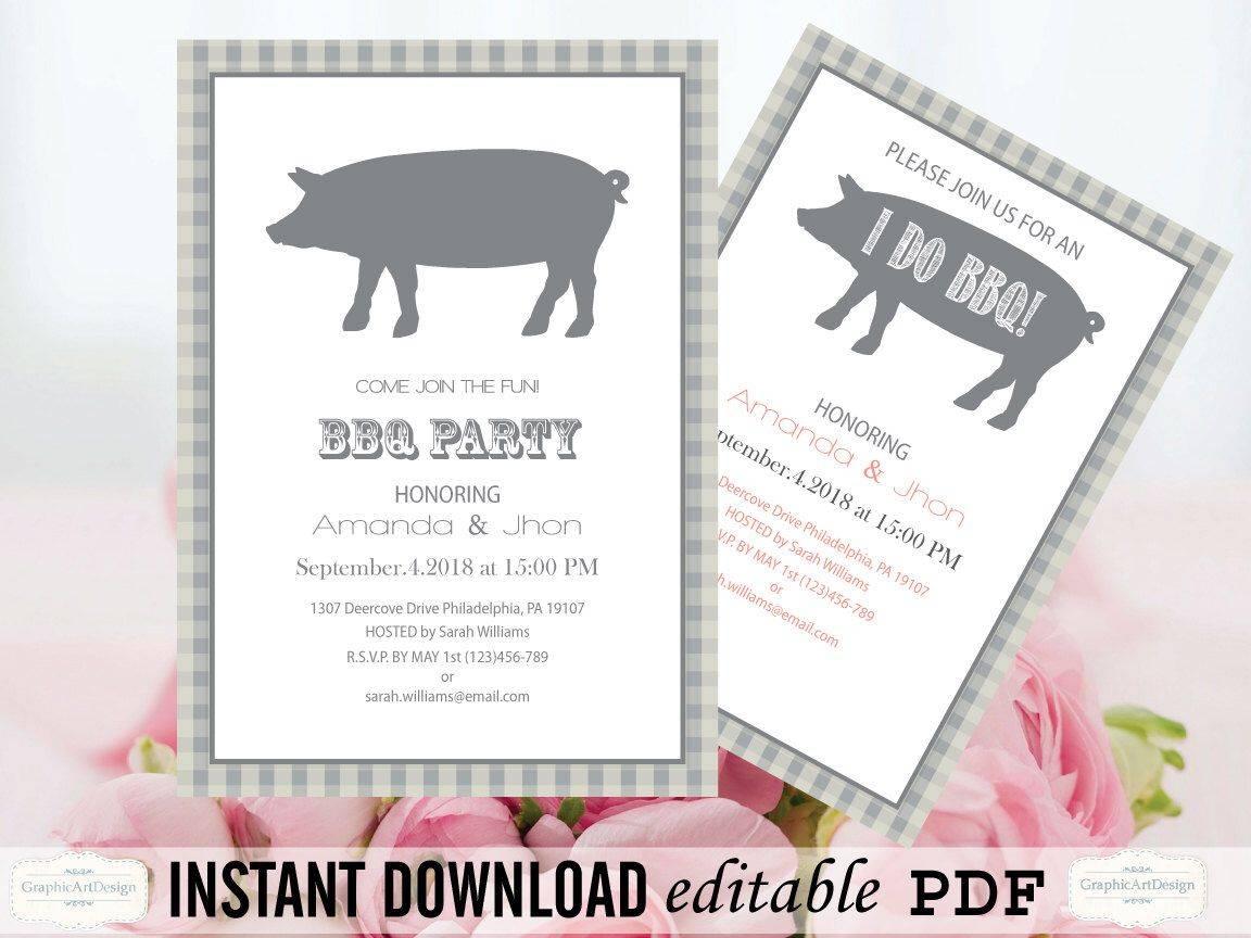 Pig Roast Party Invitation Templates