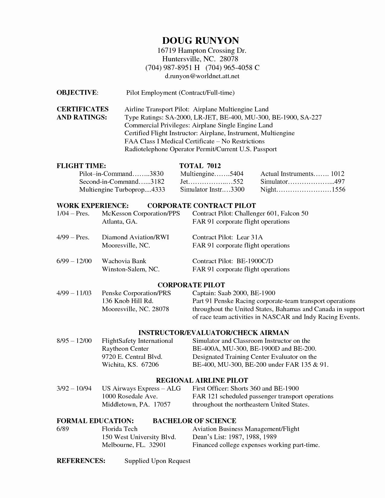 Pilot Resume Cover Letter Template