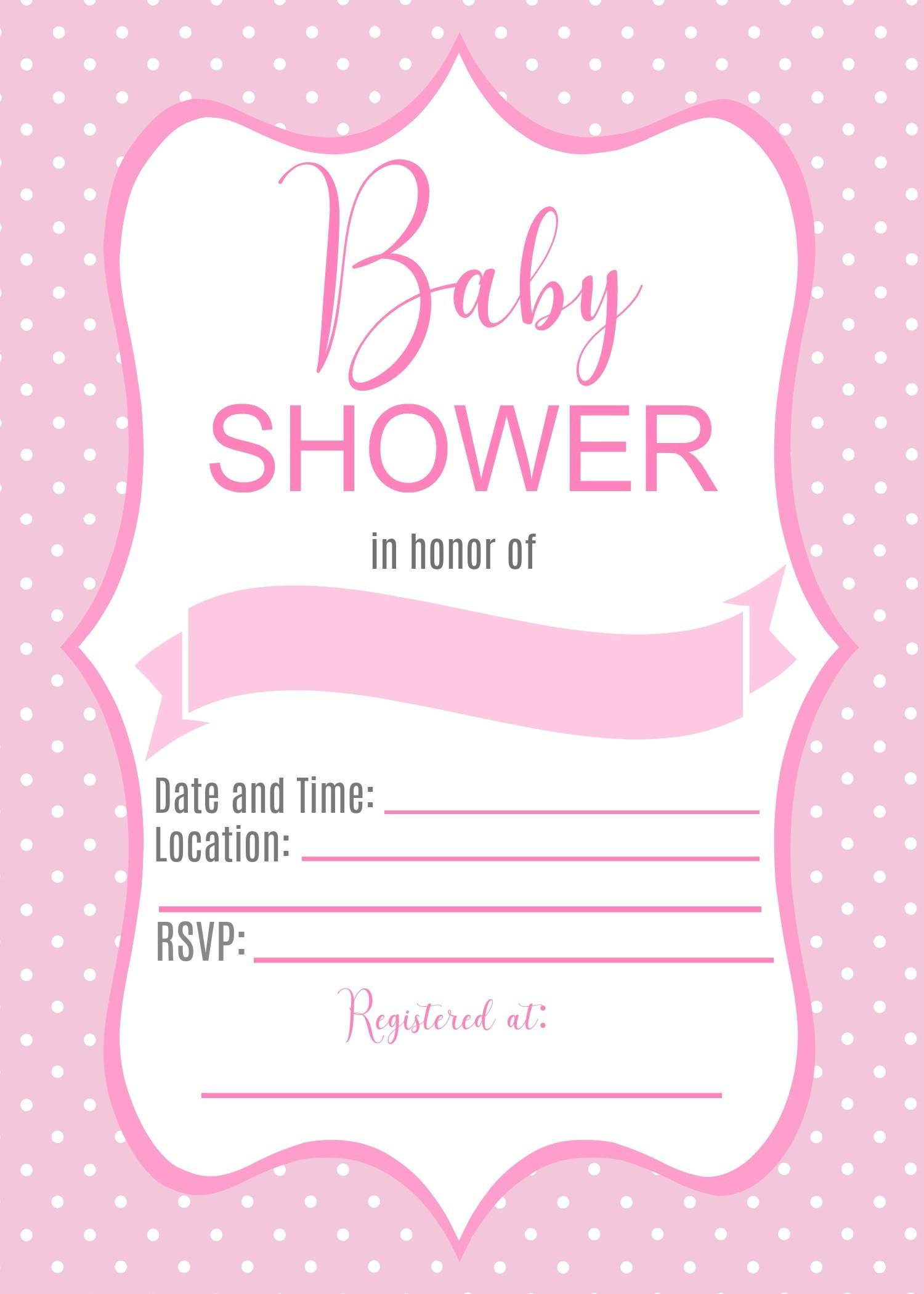 Pink Polka Dot Baby Shower Invitation Templates
