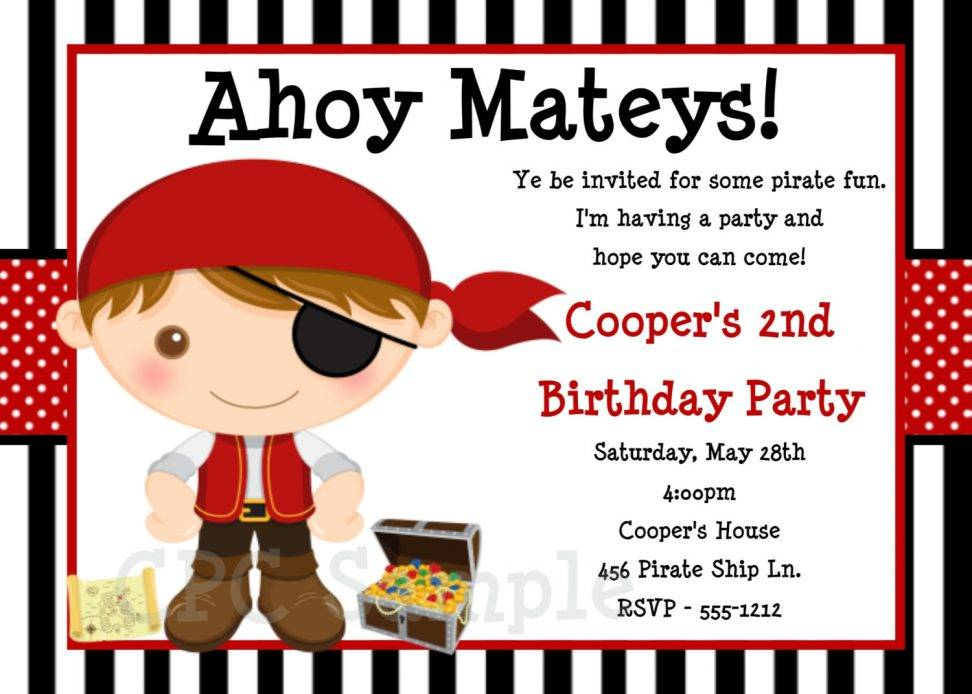 Pirate Birthday Invitation Template