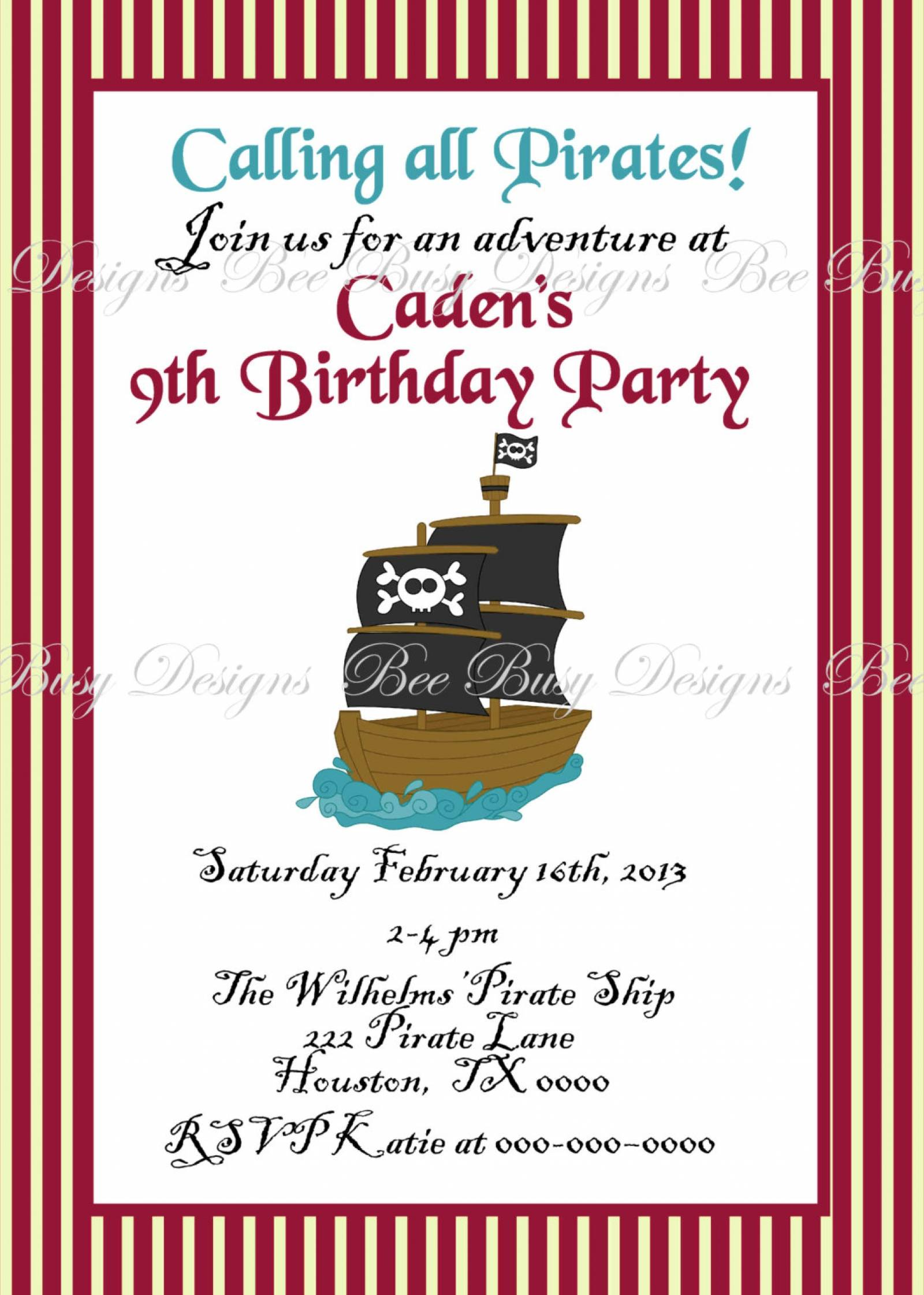 Pirate Invitation Designs