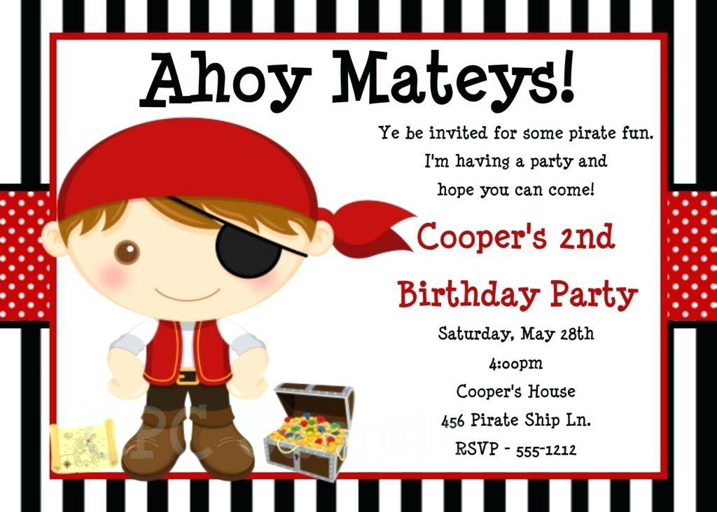 Pirate Party Invitation Template Free