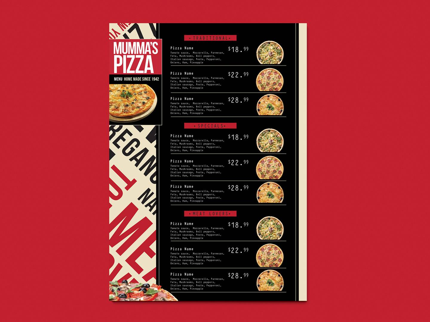 Pizza Takeaway Menu Template