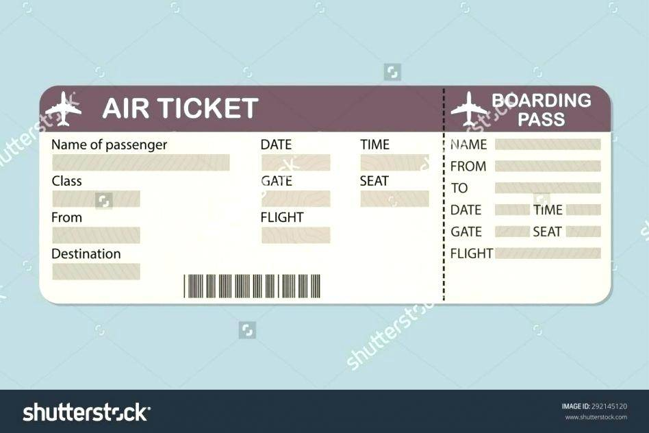 Plane Ticket Template Printable