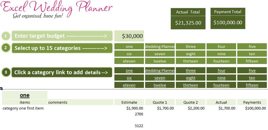 Planner Excel Template Free