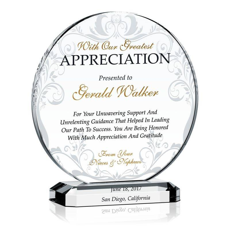 Plaque Of Appreciation Sample