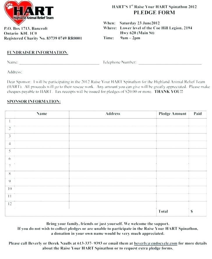 Pledge Form For Fundraising Template