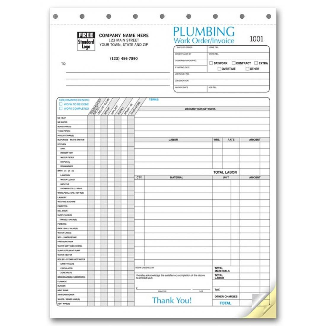 Plumber Invoice Example