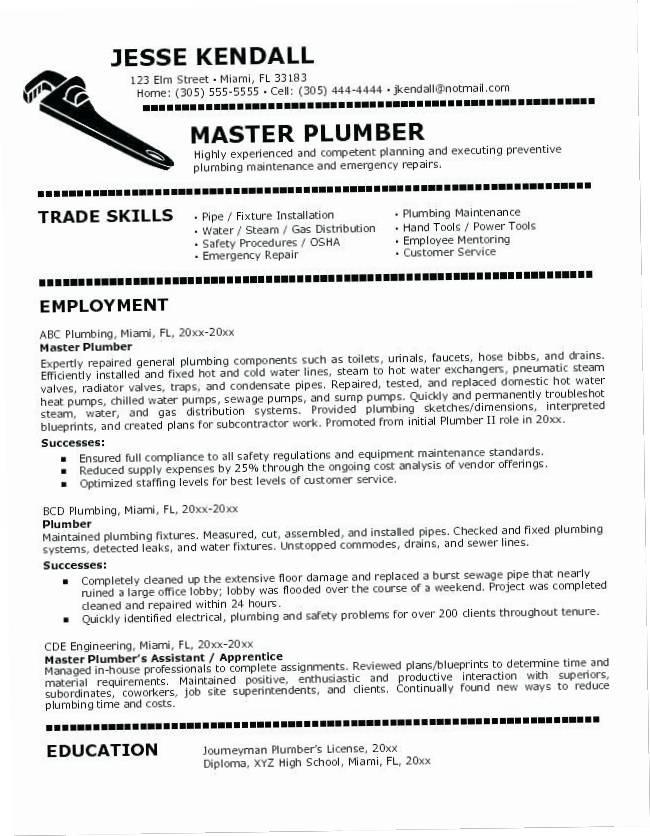 Plumber Resume Template Free