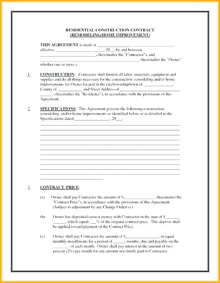 Plumbing Construction Contract Template