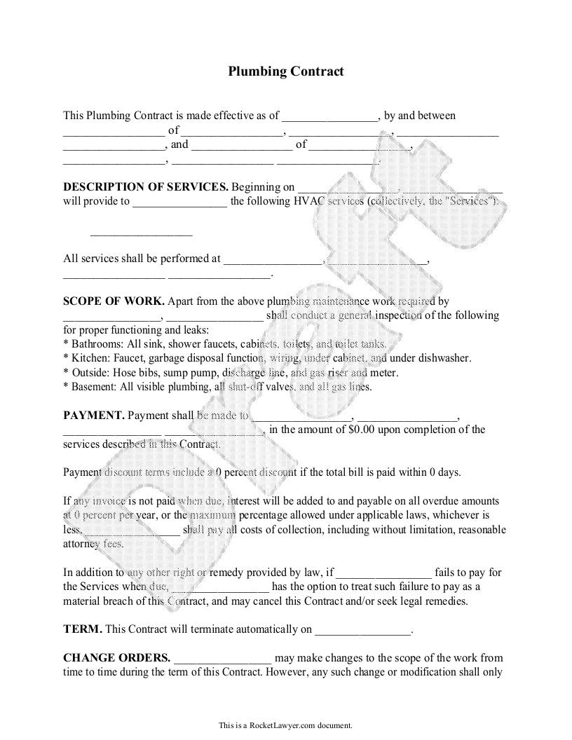 Plumbing Contract Template Free