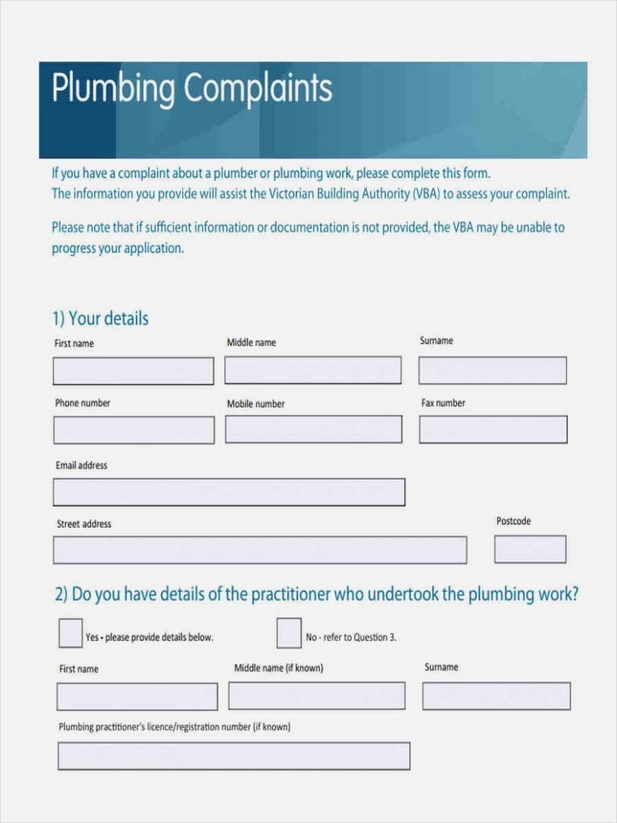 Plumbing Invoice Example