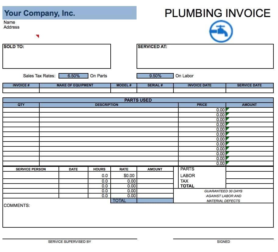 Plumbing Invoice Samples