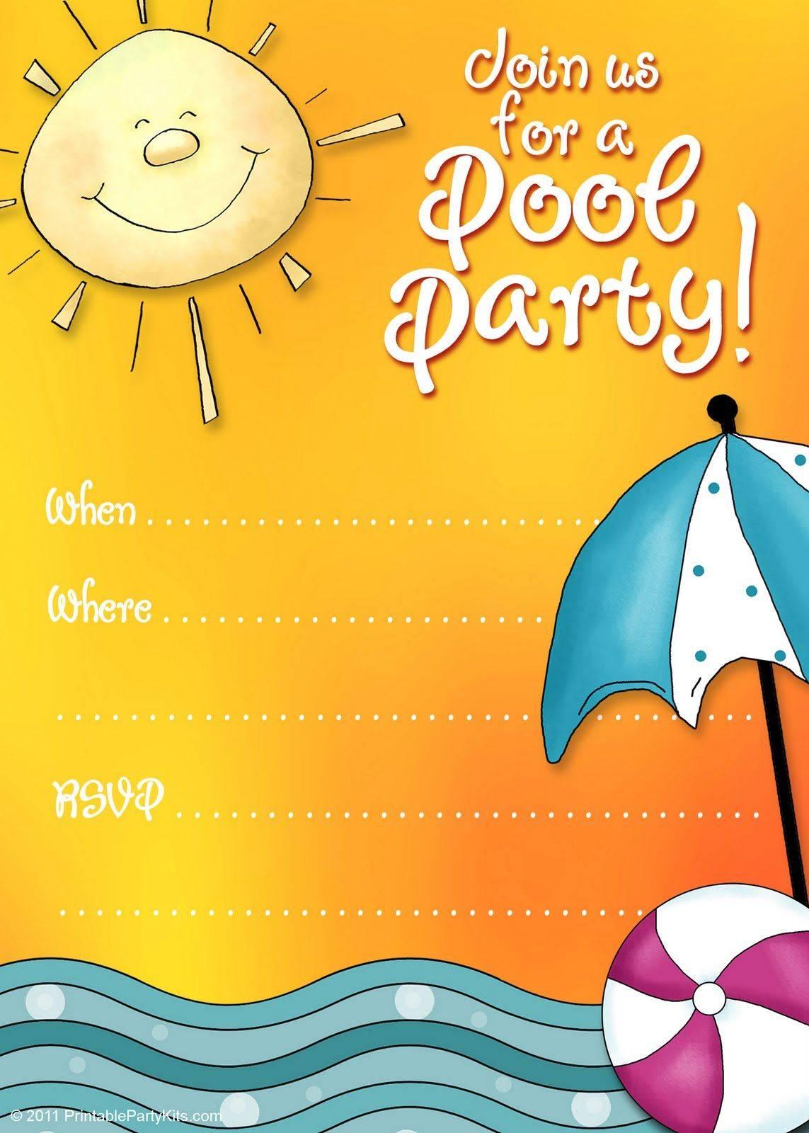 Pool Birthday Party Invitation Template Free