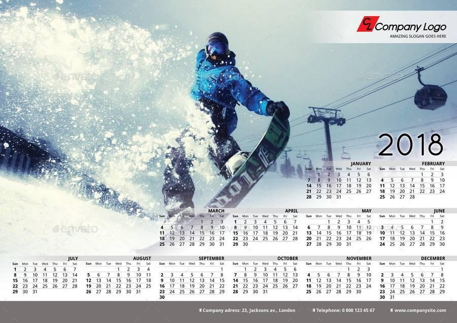 Poster Calendar Template 2018