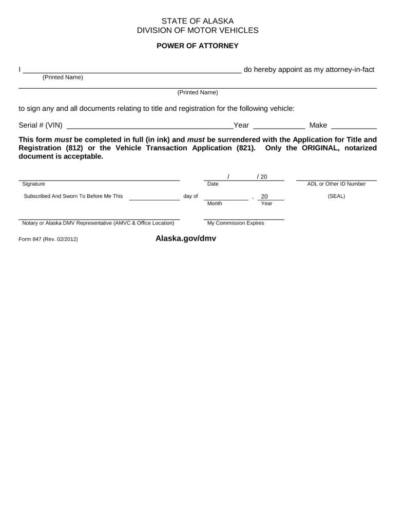 Power Attorney Form Dmv