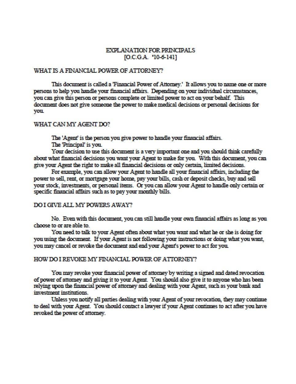 Power Attorney Form Georgia