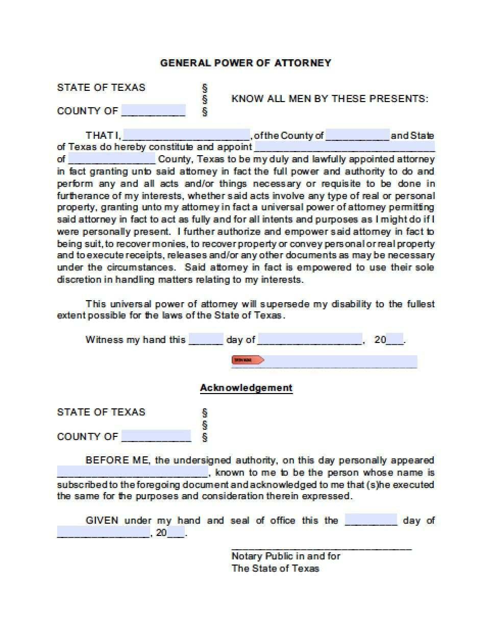 Power Attorney Form Texas