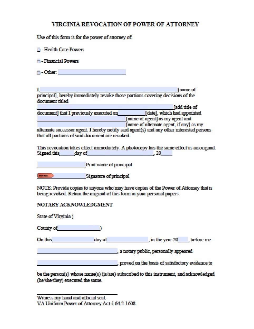 Power Attorney Form Virginia