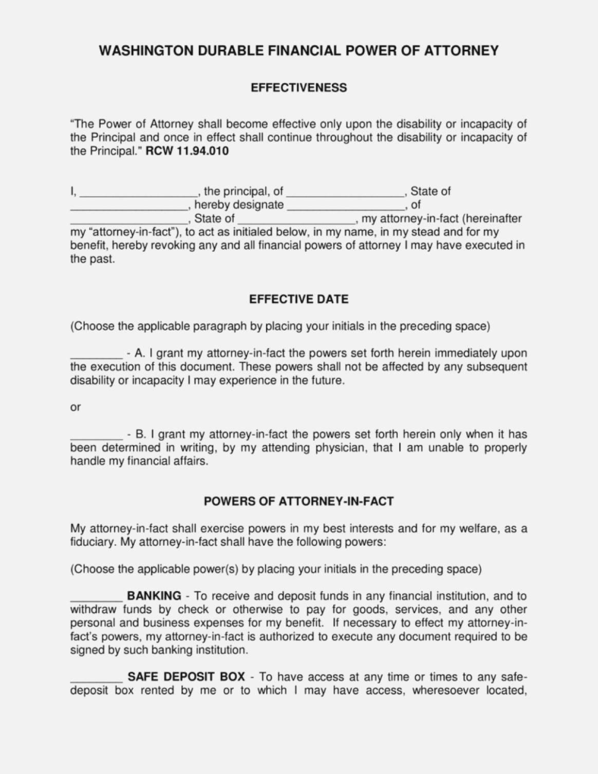 Power Attorney Form Washington State