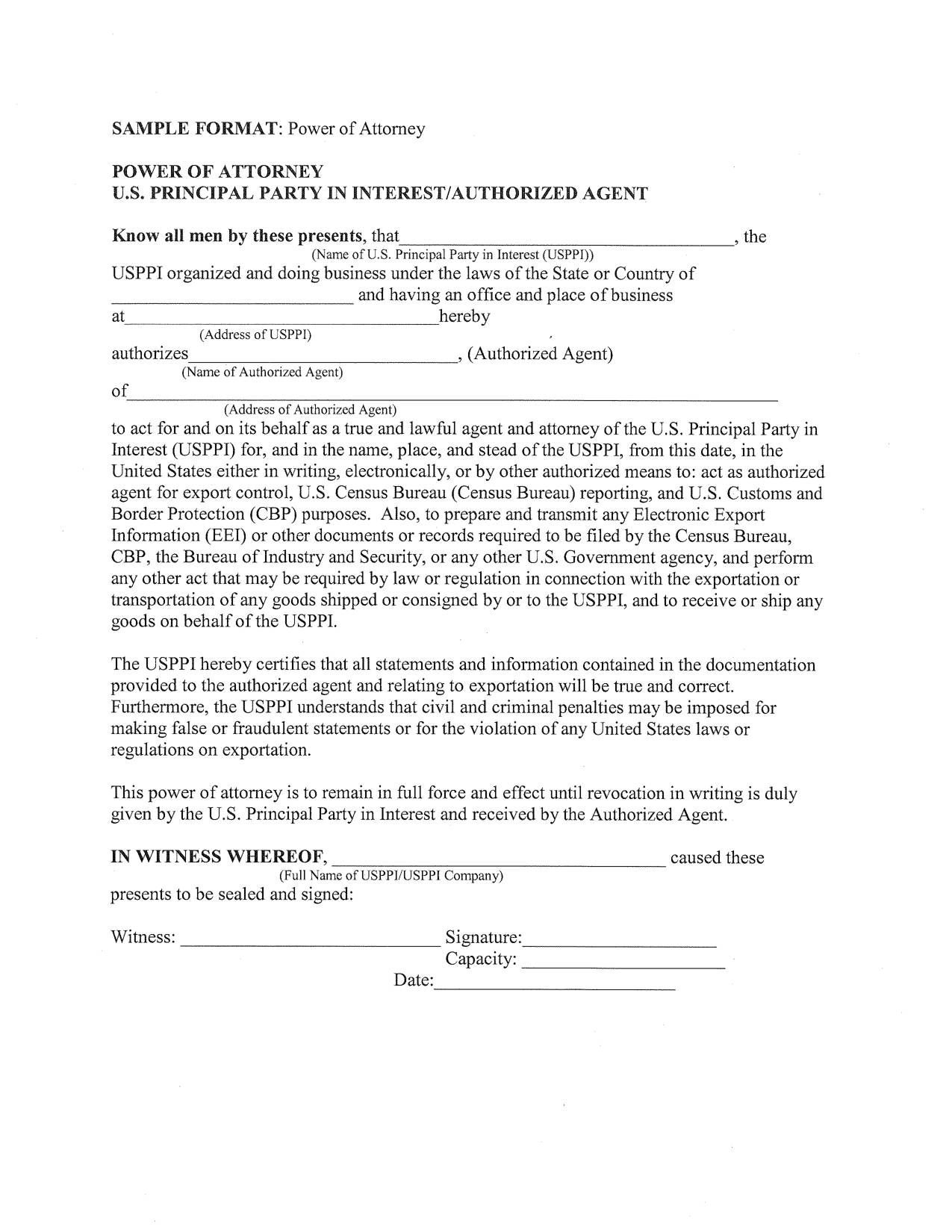 Power Of Attorney Canada Template