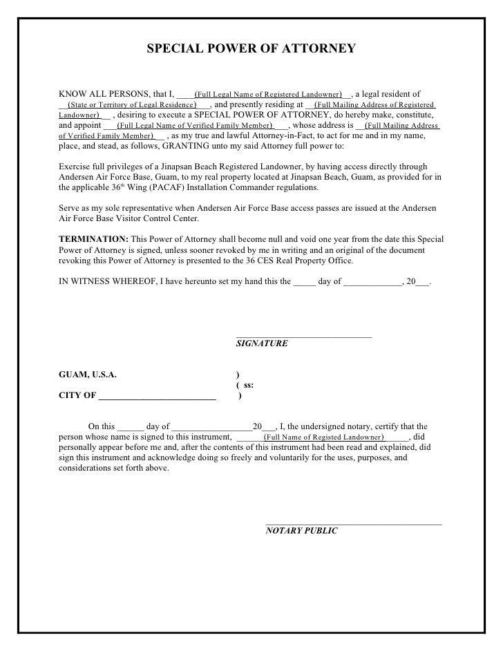 Power Of Attorney Document Template