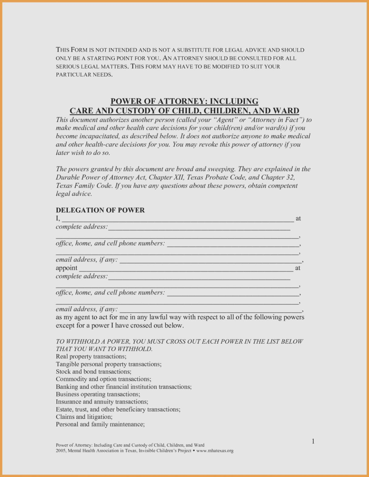 Power Of Attorney Form Texas For Child