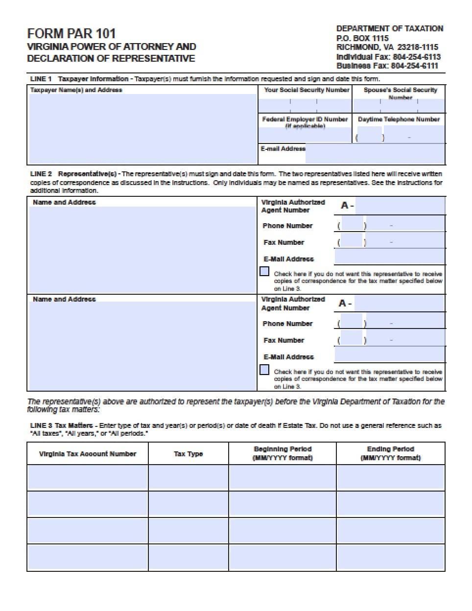 Power Of Attorney Form Virginia Medical