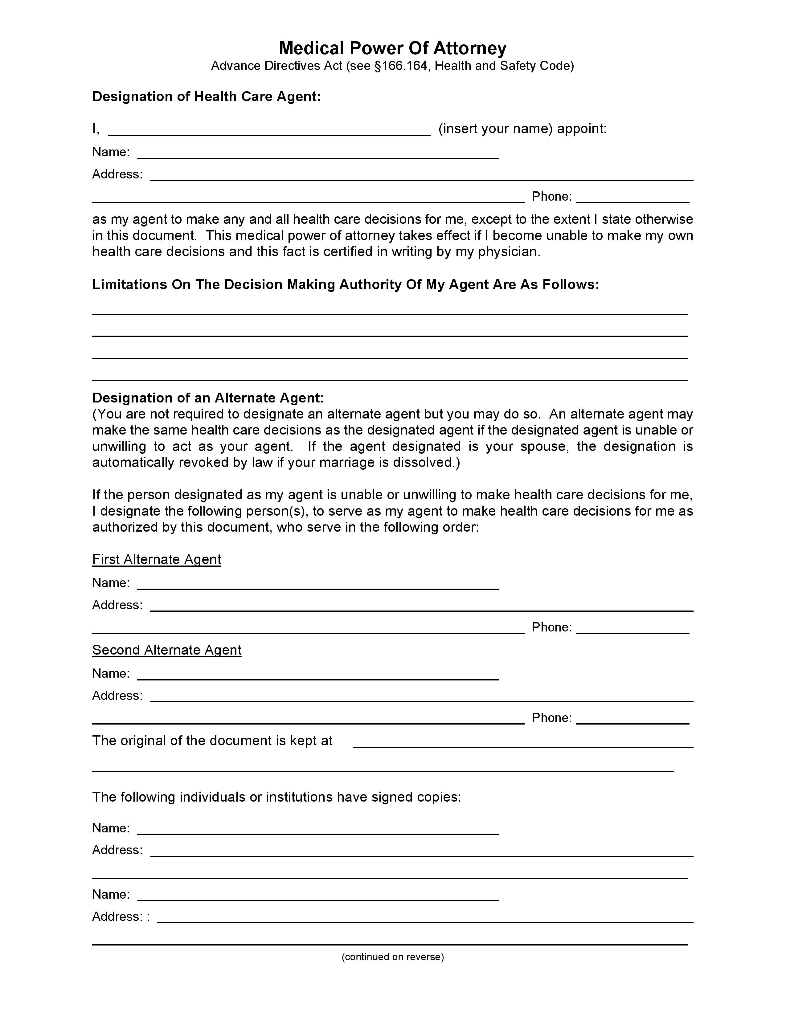 Power Of Attorney Template Medical