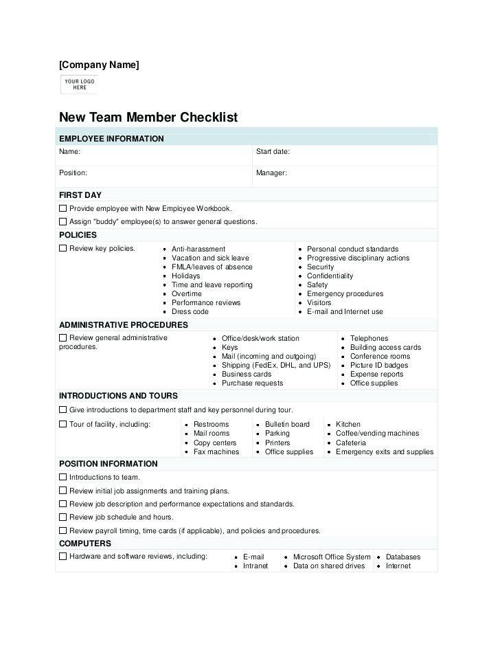 Pre Employment Checklist Template
