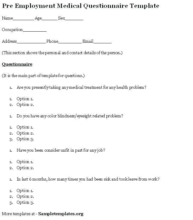 Pre Employment Health Questionnaire Template South Africa