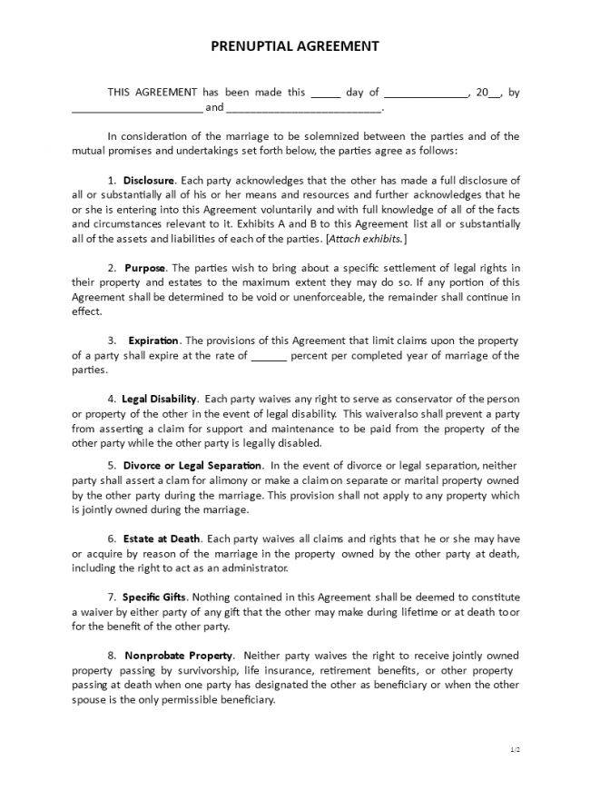 Premarital Agreement Form