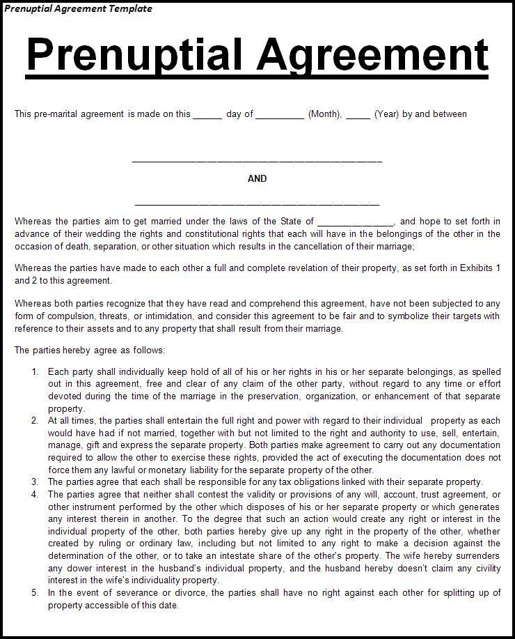 Premarital Agreement Template