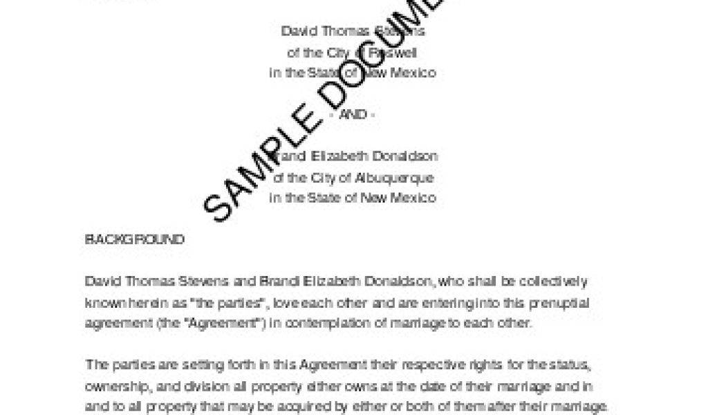 Prenuptial Agreement Template Download