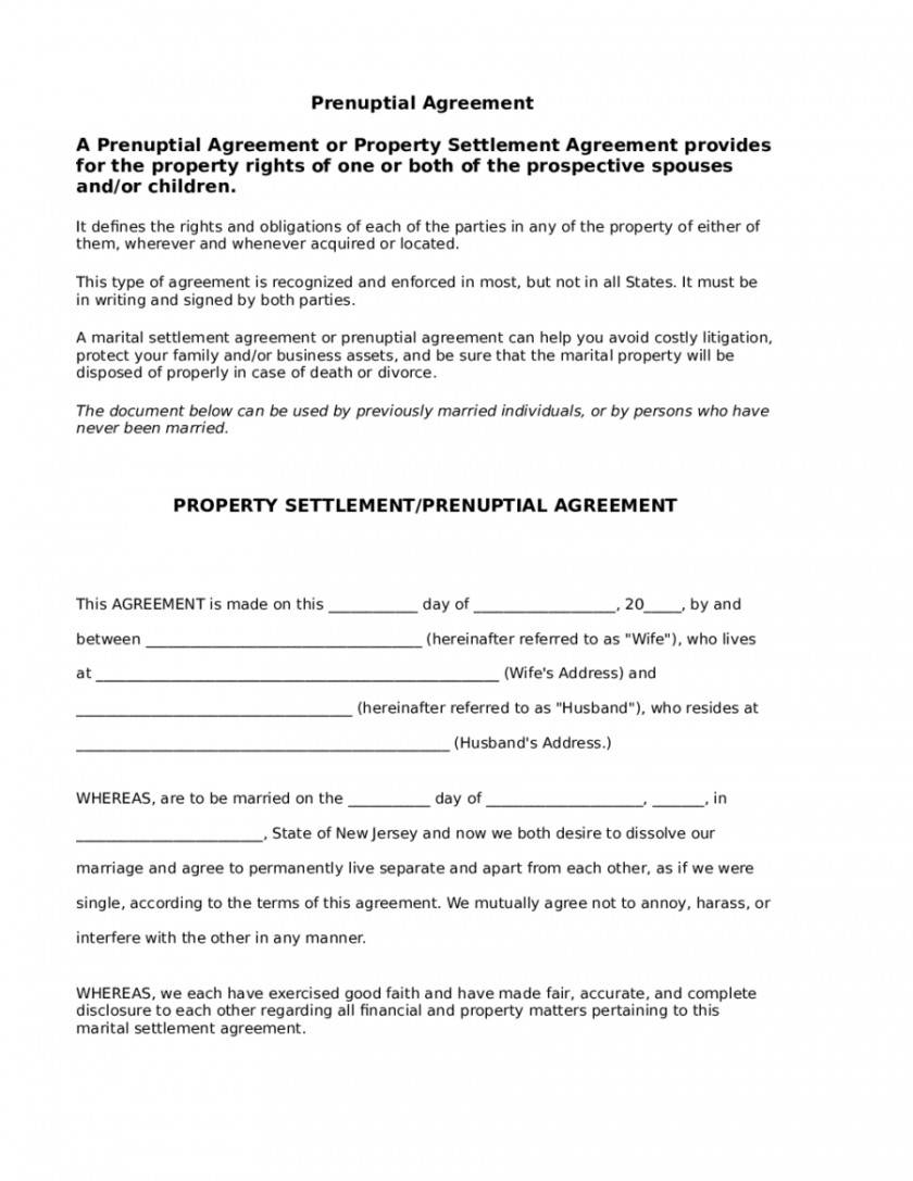 Prenuptial Agreement Template Louisiana
