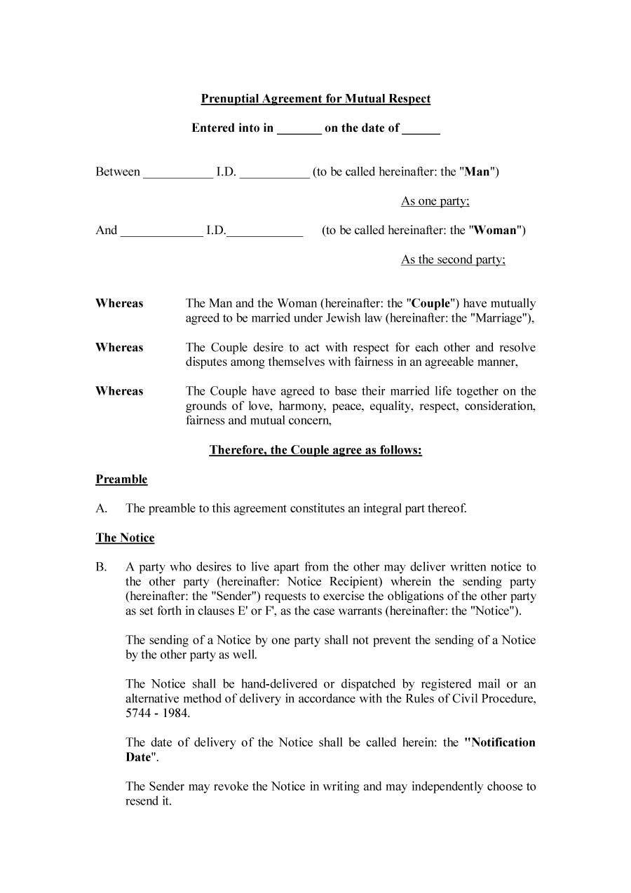 Prenuptial Agreement Template Pdf