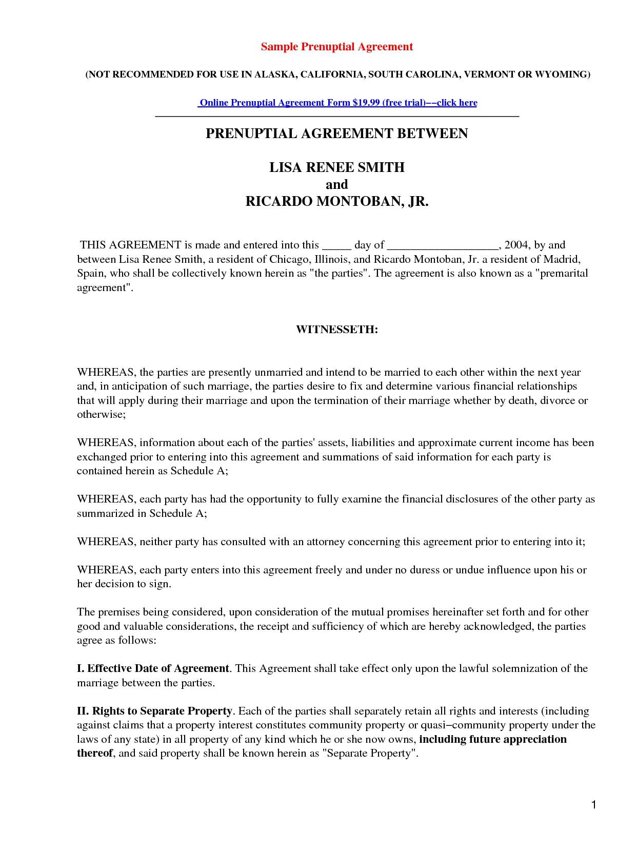 Prenuptial Agreements Forms