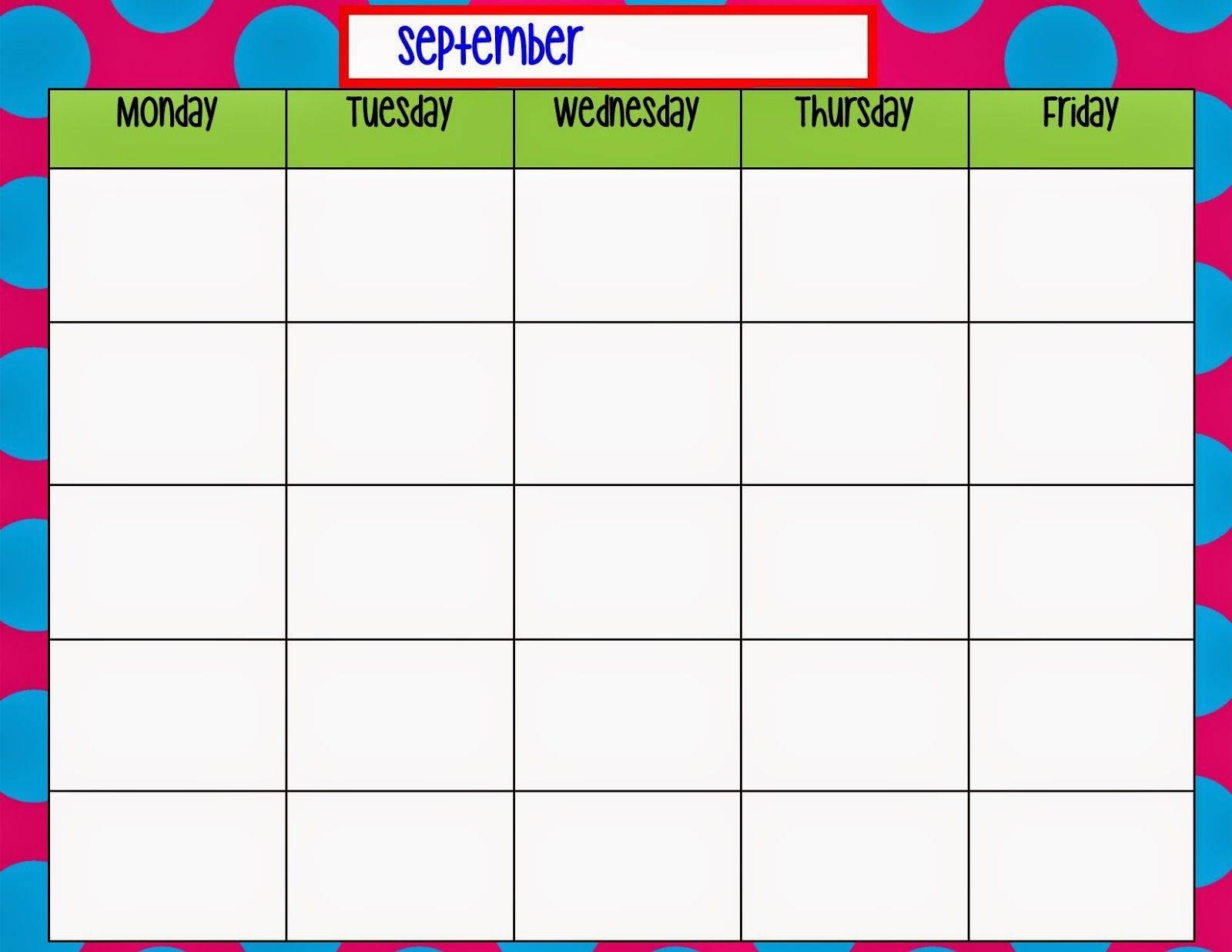 Preschool Calendar Template 2018