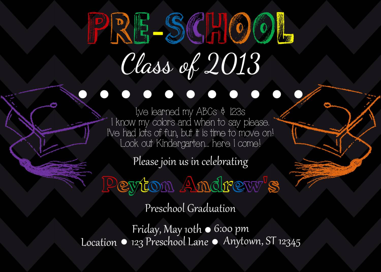 Preschool Graduation Invitation Template Free