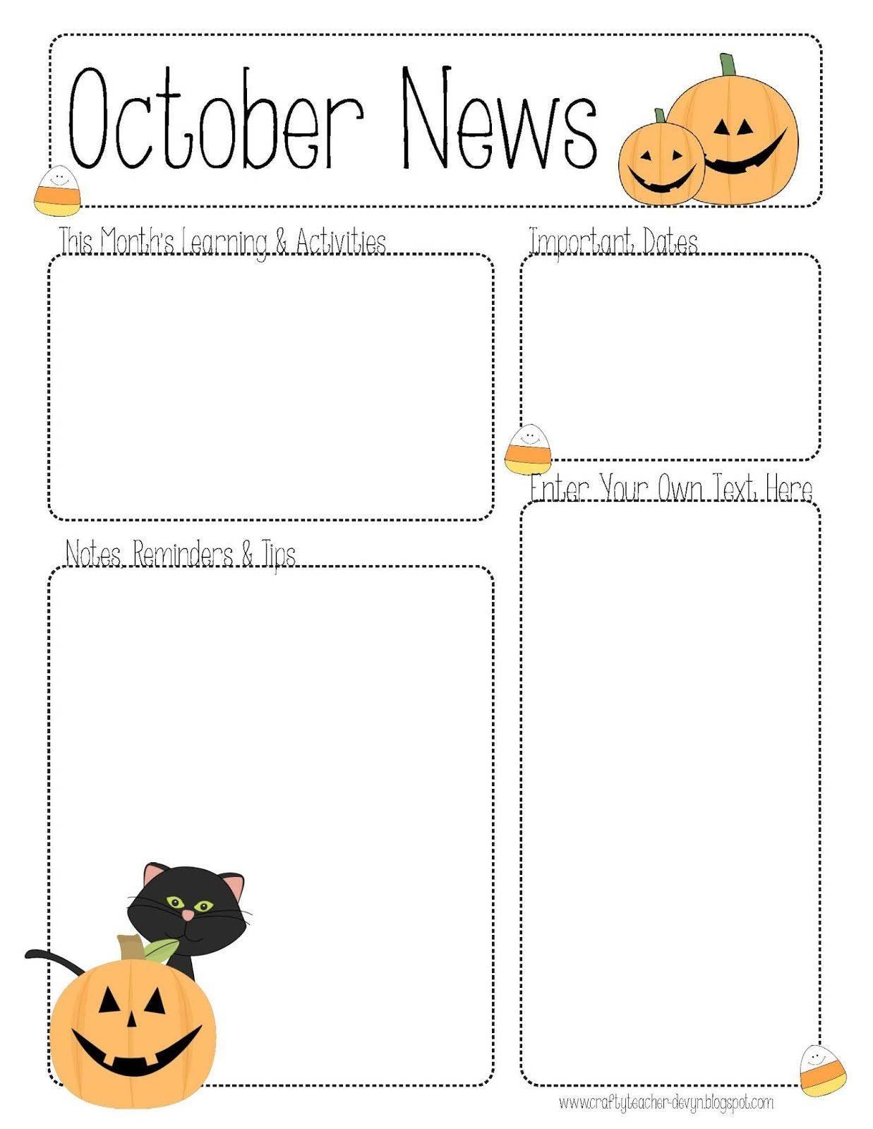 Preschool Newsletter October Templates