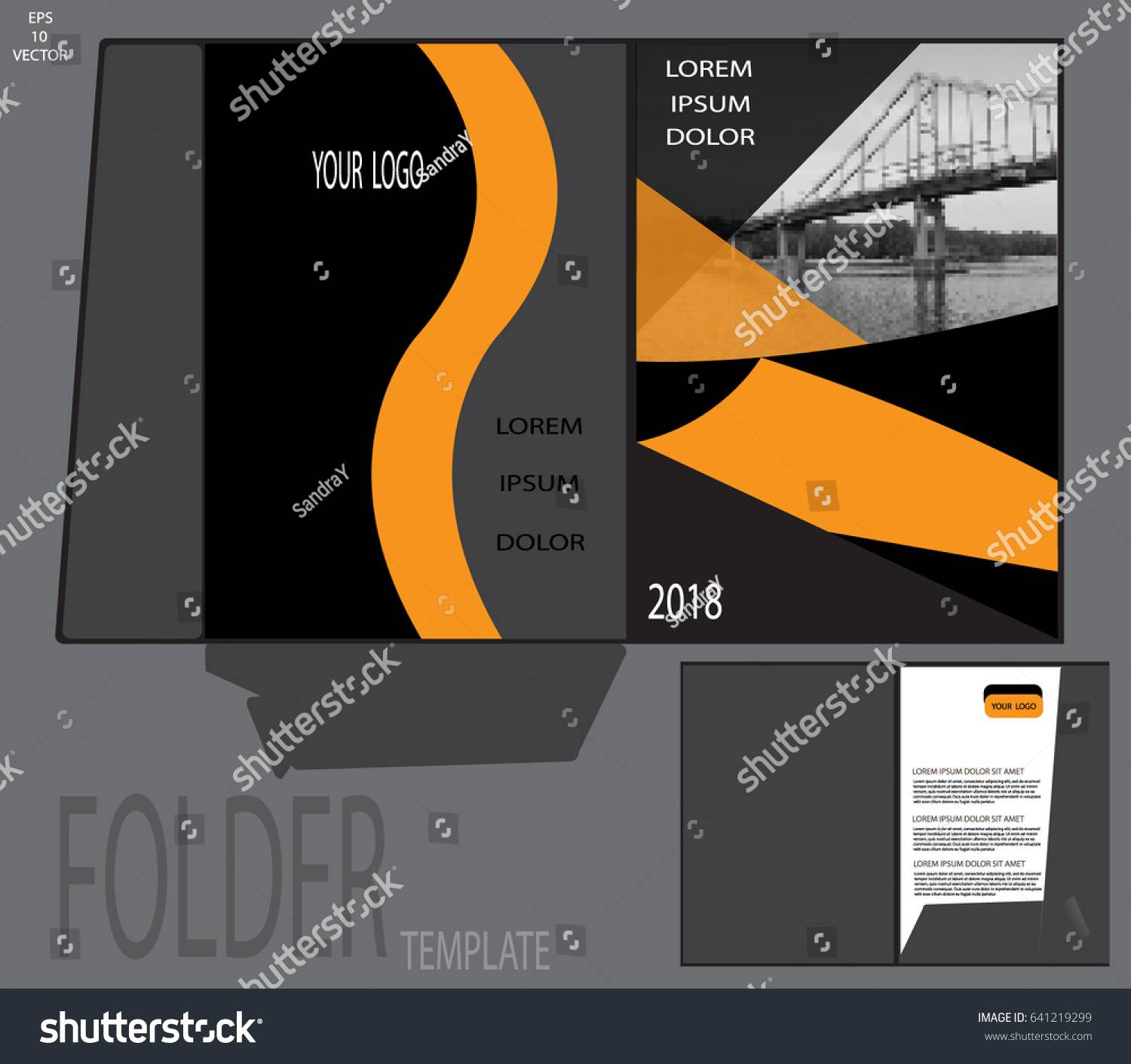 Presentation Folder Template Vector
