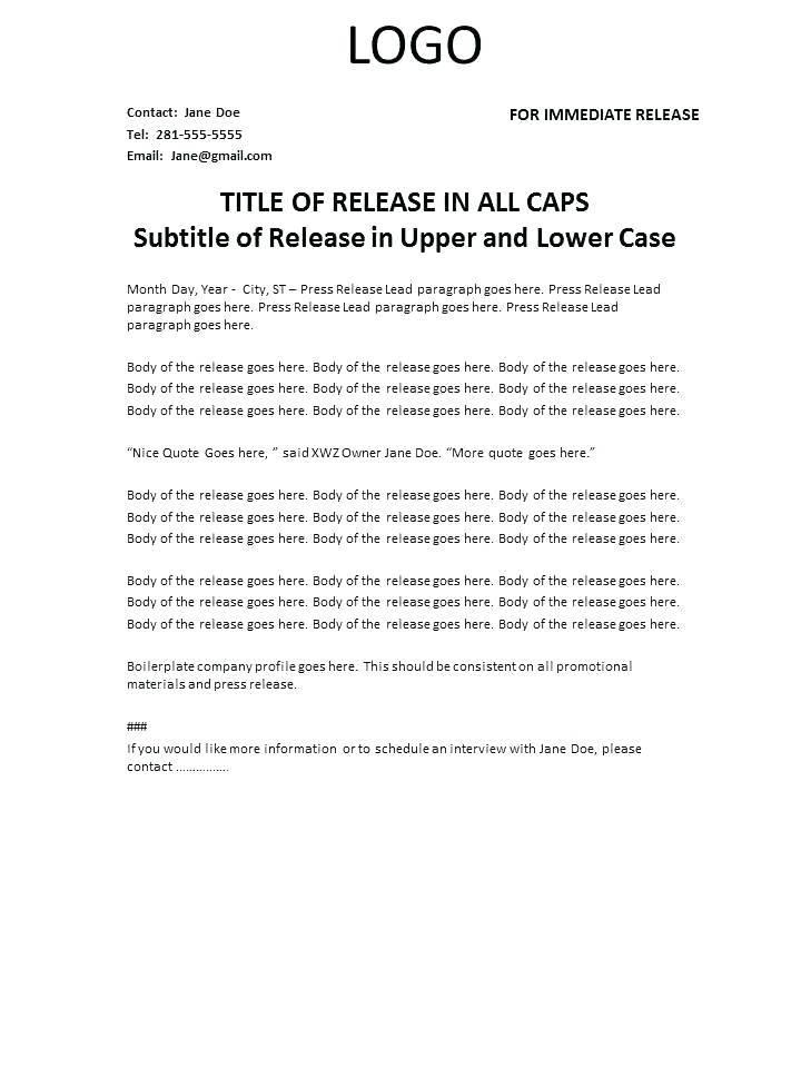 Press Release Acquisition Announcement Template