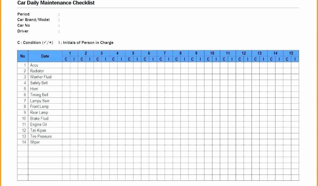 Preventative Maintenance Checklist Template Excel
