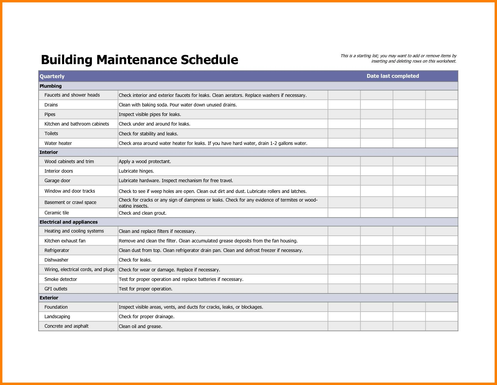 Preventive Maintenance Checklist Templates