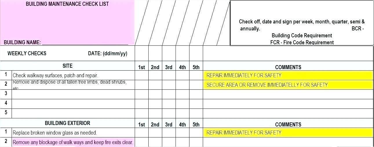 Preventive Maintenance Schedule Template For Excel