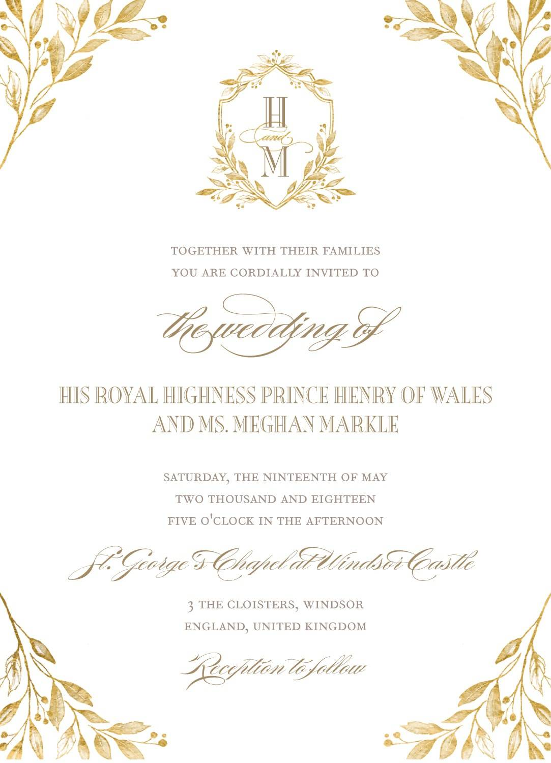 Prince Harry Royal Wedding Invitation Template