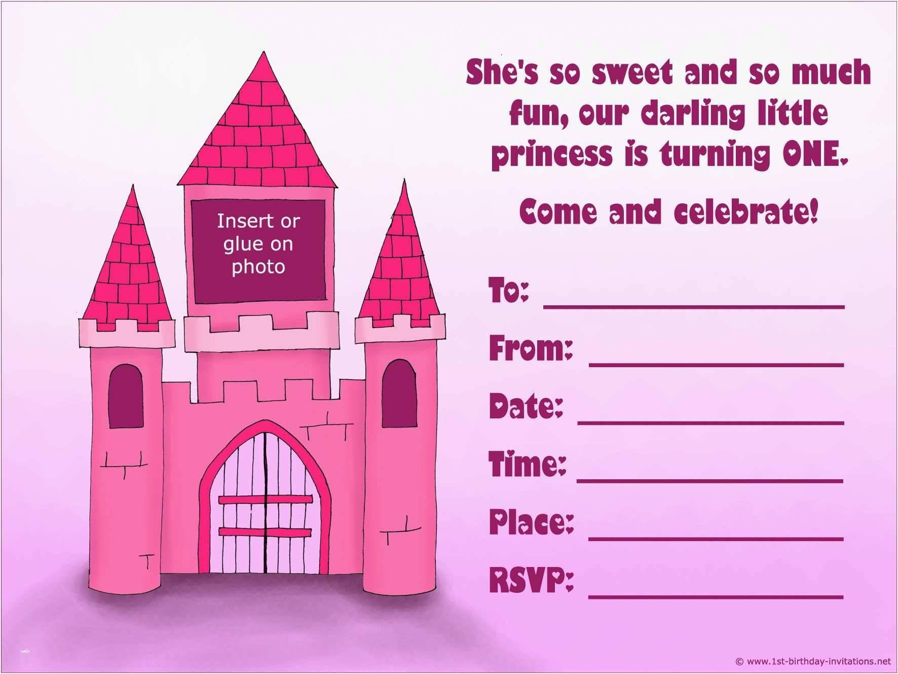 Princess 1st Birthday Invitation Templates