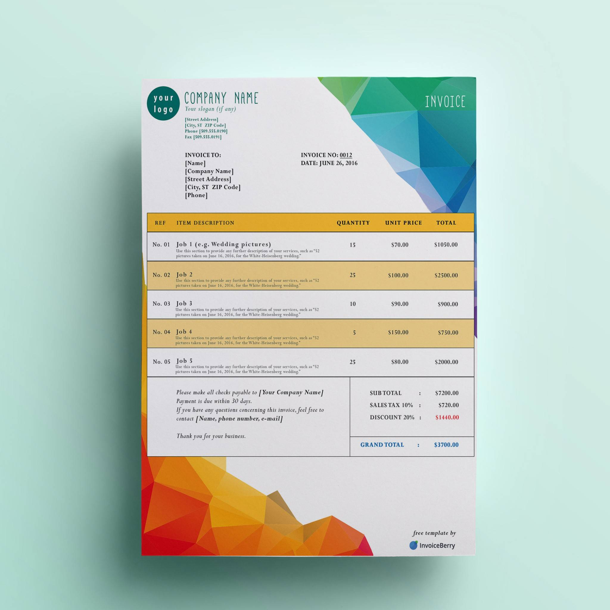Print Invoice Template Free