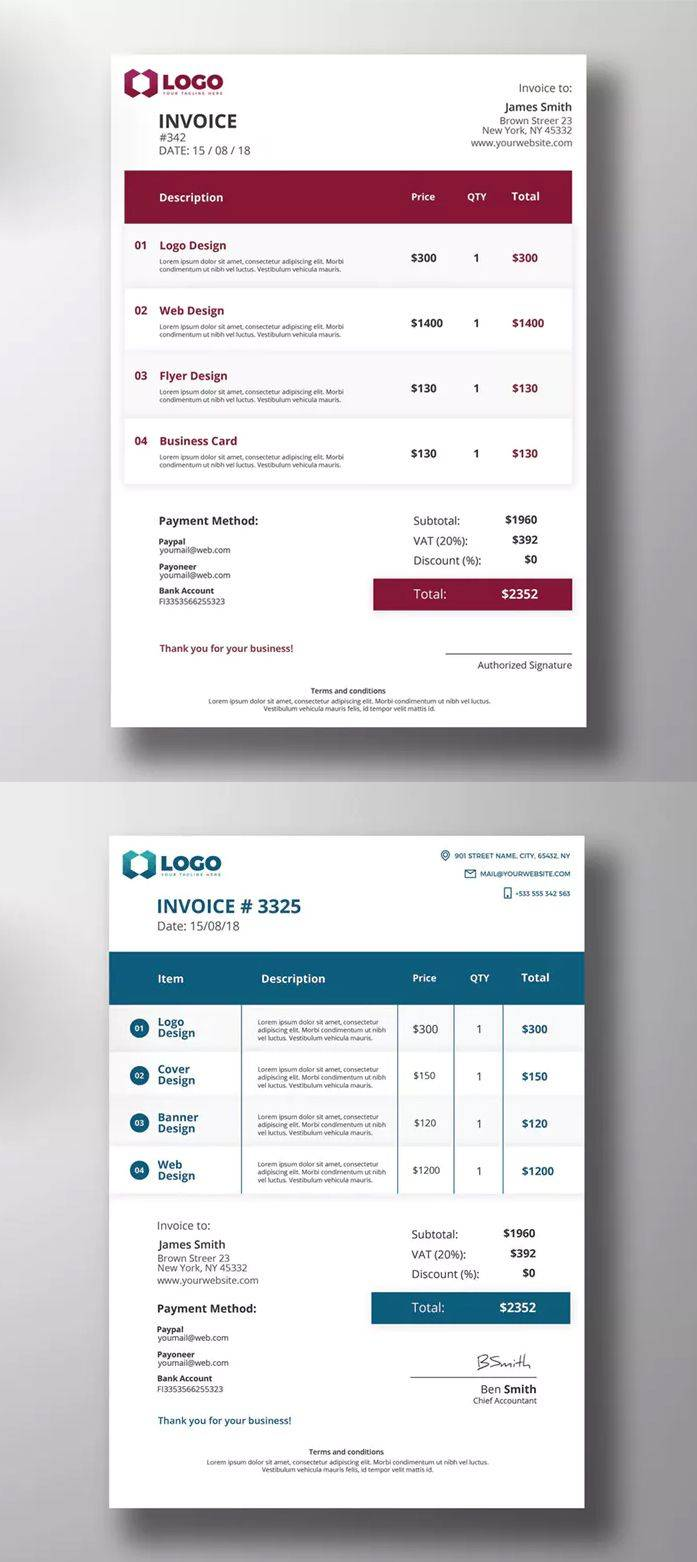 Print Invoice Templates